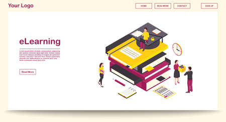 E learning webpage vector template with isometric illustration. Digital library. Online school, classes, lesson. Remote studying, distance education. Website interface layout. Webpage 3d concept  イラスト・ベクター素材