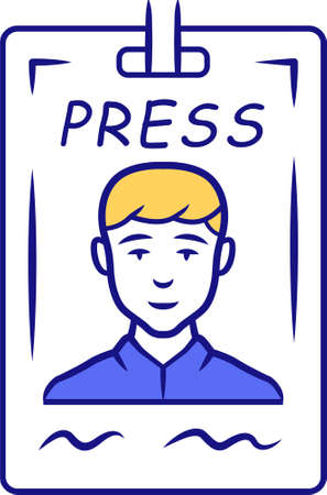 Press pass blue color icon. Journalist, reporter ID badge. Press identification card. Backstage VIP entry permit, conference entrance ticket. Corporate pass holder. Isolated vector illustration