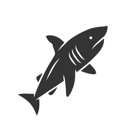Shark glyph icon. Dangerous ocean predator. Swimming fish. Underwater animal, ocean wildlife. Marine fauna. Wild shark in aquarium. Silhouette symbol. Negative space. Vector isolated illustration  イラスト・ベクター素材