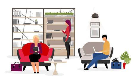Jobseekers waiting for interview flat illustration. Male, female candidates, applicants preparing for human resources department meeting. HR agency office interior. Secretary with folders in bookcase