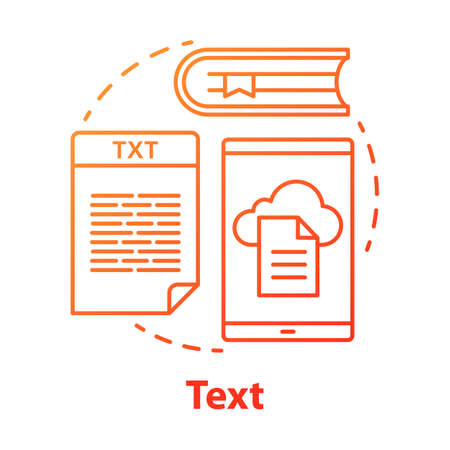Text red concept icon. Different types of textual information idea thin line illustration. Books, news, advertisements. Documents and files, articles. Vector isolated outline drawing Иллюстрация