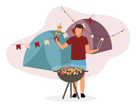 Summer camp barbeque flat vector illustration. Hiker, camper frying sausages on BBQ grill. Husband, father cooking grilled vegetables for picnic in fresh air. Tourist preparing snacks in countryside Ilustração