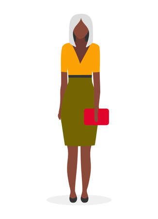 Dark skinned business lady flat vector illustration. Afro american elegant, glamour woman with blonde short haircut cartoon character. Young black businesswoman, manager in formal wear on white 向量圖像