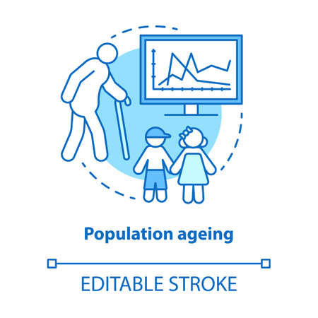 Population ageing concept icon. Elderly people number increasing on planet idea thin line illustration. Demographic problems with lack of youth. Vector isolated outline drawing. Editable stroke Banque d'images - 131291632