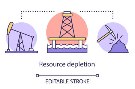 Resource depletion concept icon. Mining for fossil fuels and minerals. Energy carriers. Oil rig, coal mine idea thin line illustration. Vector isolated outline drawing. Editable stroke Иллюстрация