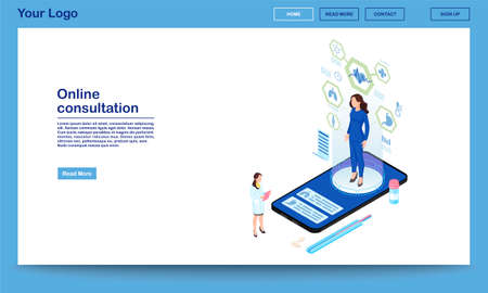 Online consultation service isometric landing page template. Remote internal organs diagnostics. 3d patient hologram with distance organism scanning technology. Modern medical research center webpage  Illustration