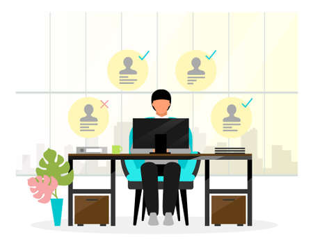 HR manager analyzing resumes vector illustration. Employment service personnel. Recruiter, secretary at work cartoon character. HR expert, employer comparing candidates. Recruiting expert discards CV