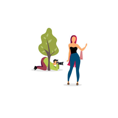 Paparazzi photographer behind tree flat vector illustration. Journalist with camera hiding and spy cartoon character. Reporter, cameraman taking photos of celebrity, movie star, famous person