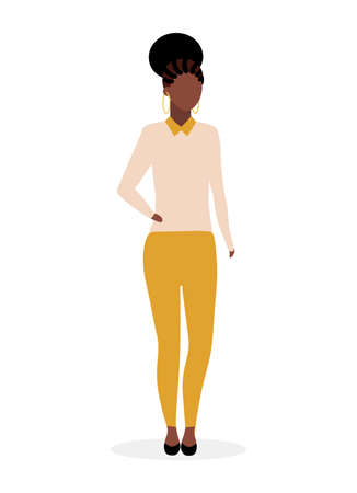 Afro american girl flat vector illustration. Black stylish woman with dreads and curly hairstyle. Dark skinned stylish, elegant lady in casual clothing. Mulatto brazil female model cartoon character