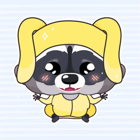 Cute raccoon kawaii cartoon vector character. Adorable and funny smiling little animal wearing hare costume isolated sticker, patch. Anime baby happy raccoon emoji on blue background Фото со стока - 131291647