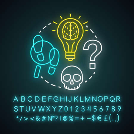 Detective literature neon light concept icon. Crime fiction idea. Criminal story and investigation. Evidence search. Glowing sign with alphabet, numbers and symbols. Vector isolated illustration Çizim