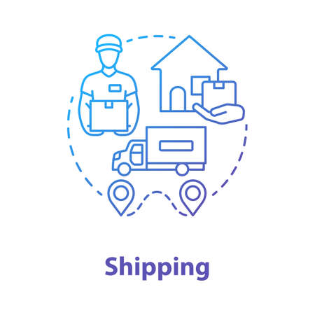 Shipping blue concept icon. Courier delivery to home idea thin line illustration. Logistics and distribution. Transportation service. Parcel shipment. Vector isolated outline drawing