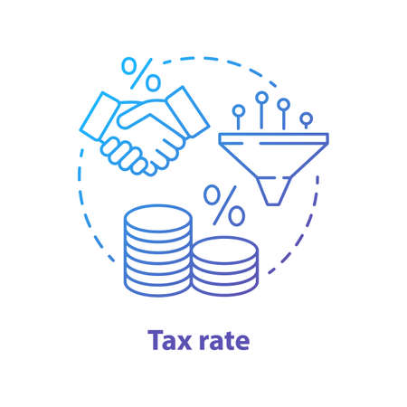 Tax rate blue concept icon. Taxable income calculation idea thin line illustration. Pay percentage of salary to government budget. Tax ratio, profit percent. Vector isolated outline drawing