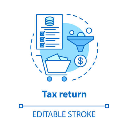 Tax return blue concept icon. Earned income calculation idea thin line illustration. Filling in tax documentation. Revenue accounting. Vector isolated outline drawing. Editable stroke Ilustração