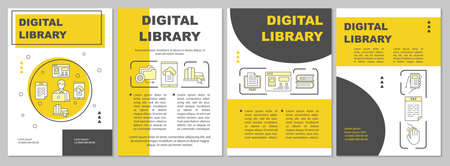 Digital library brochure template. Ebooks reading. Flyer, booklet, leaflet print, cover design with linear illustrations. Vector page layouts for magazines, annual reports, advertising posters 向量圖像