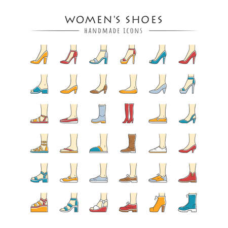 Women shoes color icons set. Female fashion, summer and autumn trendy footwear. Stiletto high heels, sandals, pumps. Winter and fall season ankle and calf boots. Isolated vector illustrations