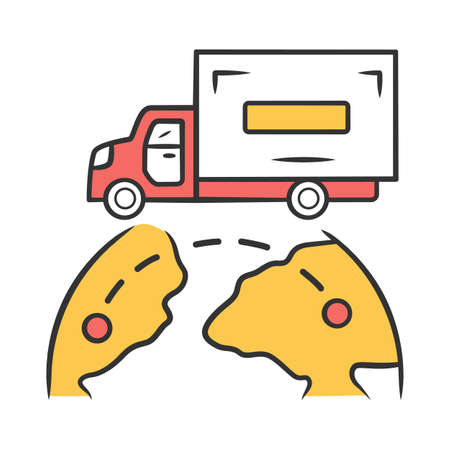 International delivery color icon. Goods import and export. Worldwide shipping. Global freight transportation. Cargo shipment logistics and distribution. Isolated vector illustration