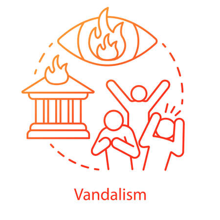 Vandalism concept icon. Civil unrest, property destruction, mob violence idea thin line illustration. Aggressive crowd, burning house and flaming eye vector isolated outline drawing. Violent protest