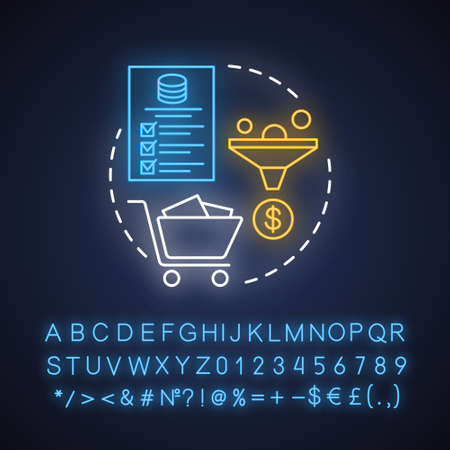 Tax return neon light concept icon. Earned income calculation idea. Filling in tax information. Revenue documentation. Glowing sign with alphabet, numbers and symbols. Vector isolated illustration