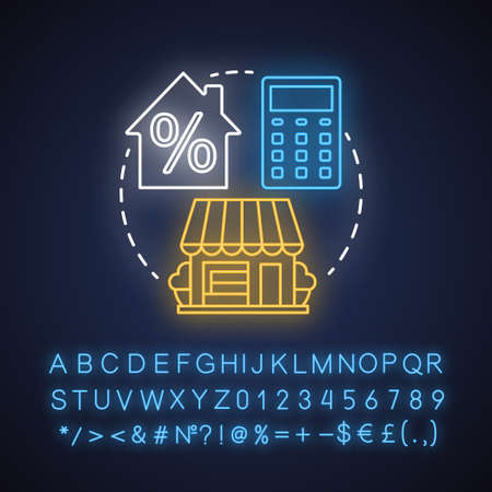 Estate taxes neon light concept icon. Financial levy idea. Inheritance tax. Paying percent for inherited property. Glowing sign with alphabet, numbers and symbols. Vector isolated illustration