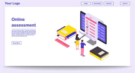 Online assessment webpage vector template with isometric illustration. Students completing exam, knowledge checkup. E-courses website interface design. Remote education webpage, mobile app 3d concept