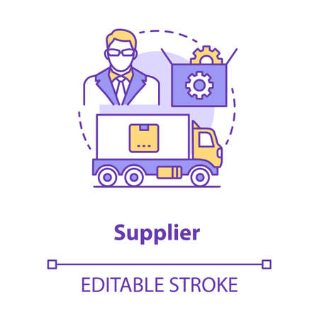 Supplier concept icon. Cargo transportation idea thin line illustration. Parcel shipping. Delivery service. Logistics and distribution. Vector isolated outline drawing. Editable stroke