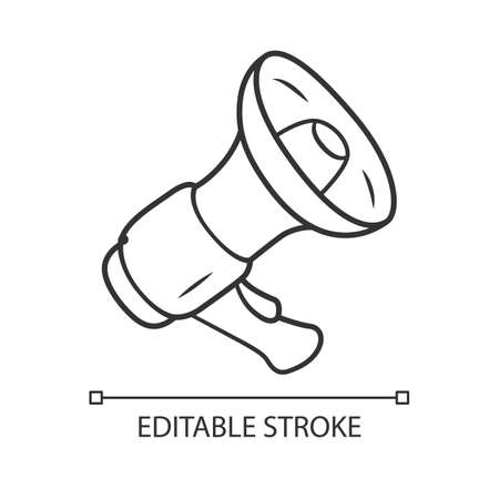 Mouthpiece linear icon. Megaphone, bullhorn, loudspeaker. Breaking news, announcement symbol. Thin line illustration. Contour symbol. Vector isolated outline drawing. Editable stroke
