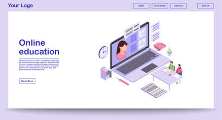 E learning webpage vector template with isometric illustration. Digital education. Online school, classes, lesson. Remote studying. Math webinar. Website interface layout. Webpage design 3d concept  イラスト・ベクター素材