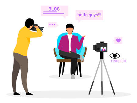 Blogger flat vector illustration. Online tutorial, channel, blog. Blogger creating video content at studio with cameraman. Social media vlog content. Isolated cartoon character on white background