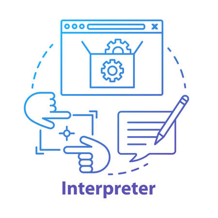 Interpreter concept icon. Help and support center. Computer code testing. Information technology. Program setup idea thin line illustration. Vector isolated outline drawing