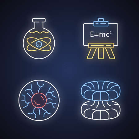 Physics branches neon light icons set. Chemical, modern, plasma and quantum physics. Quantum mechanics, physicochemical phenomena learning disciplines. Glowing signs. Vector isolated illustrations