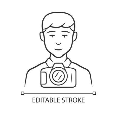 Photojournalist linear icon. Photographer, paparazzi. Making snapshot. Professional media correspondent. Thin line illustration. Contour symbol. Vector isolated outline drawing. Editable stroke