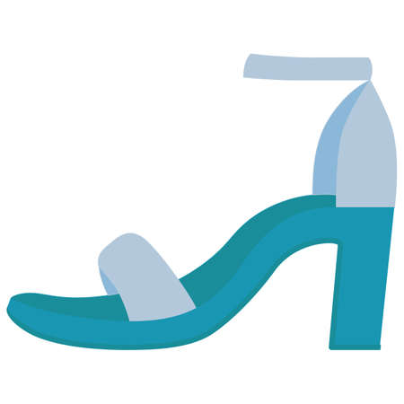 Ankle strap high heels blue flat color icon. Woman stylish footwear design. Female casual shoes, luxury modern summer sandals. Fashionable classic clothing accessory. Vector silhouette illustration