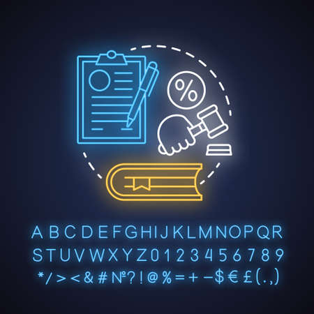 Tax law neon light concept icon. Revenue rule idea. Financial verdict. Taxation legislation and regulations. Economy crime. Glowing sign with alphabet, numbers, symbols. Vector isolated illustration