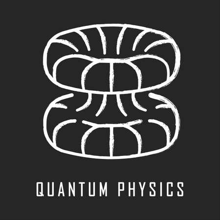Quantum physics chalk icon. Nuclear energy phenomenon. Futuristic nanotechology. Quantum mechanics theoretical model. Nuclear fusion. Major physics branch. Isolated vector chalkboard illustration Ilustrace