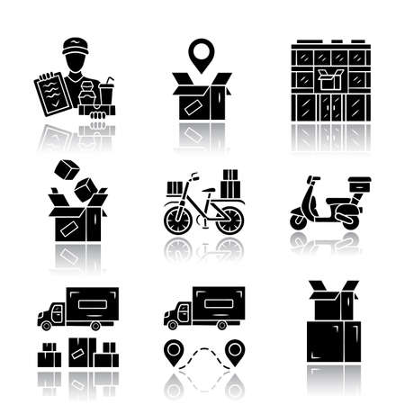 Delivery drop shadow black glyph icons set. Parcel tracking, post office, cardboard box, order packing. Heavy goods shipping truck. Scooter, bicycle delivery. Isolated vector illustrations