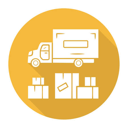 Heavy goods delivery yellow flat design long shadow glyph icon. Cargo shipping lorry. Freight transportation truck. Delivery van. Postal vehicle. Export and import. Vector silhouette illustration