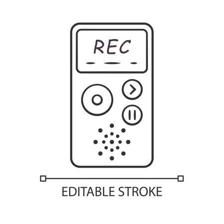 Dictaphone linear icon. Portable audio recorder. Device for recording interviews. Audio record of voice, music. Thin line illustration. Contour symbol. Vector isolated outline drawing. Editable stroke Ilustração