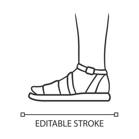 Sandals linear icon. Woman stylish footwear design. Female casual shoes, modern summer flats with ankle strap. Thin line illustration. Editable stroke. Contour symbol. Vector isolated outline drawing Ilustracja