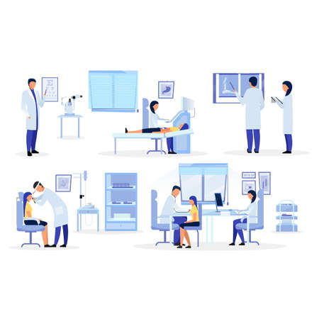Doctors, general practitioners, therapists flat illustrations set. Medical  workers diagnosing cartoon characters. Orthopedist, otolaryngologist, ophthalmologist, sonographer examining patients
