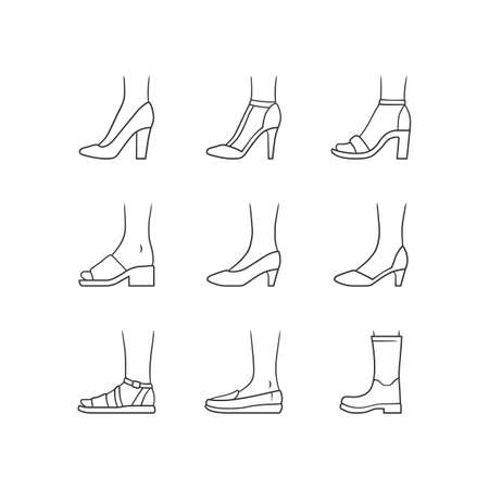 Women modern shoes linear icons set. Female summer and autumn elegant footwear. Stiletto high heels, sandals, pumps. Thin line contour symbols. Editable stroke. Isolated vector outline illustrations