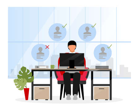 Choosing candidates at HR agency flat illustration. Chief expert, boss selecting applicants for interview. Headhunter, recruiting specialist declines unsuitable jobseeker. Analysing resume, CV at PC