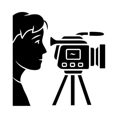 Cameraman glyph icon. Videorecording, filming. Videographer, operator with camera. Video journalist, reporter. Filmmaking. Silhouette symbol. Negative space. Vector isolated illustration