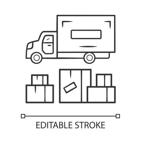 Heavy goods delivery linear icon. Cargo shipping lorry. Freight transportation truck. Delivery van. Postal service vehicle. Export and import. Contour symbol. Vector isolated drawing. Editable stroke Illustration