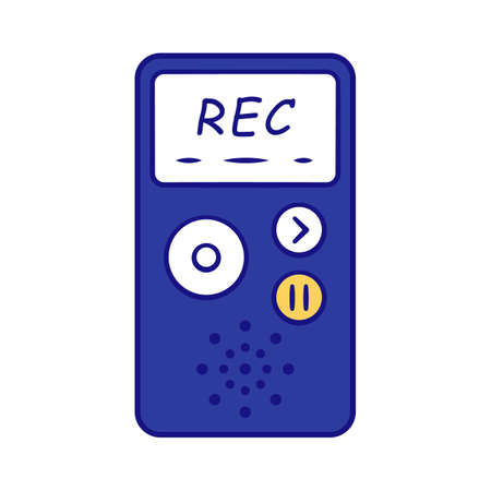 Dictaphone blue color icon. Portable audio recorder. Device for recording interviews. Audio record of voice, music. Journalist equipment. Isolated vector illustration