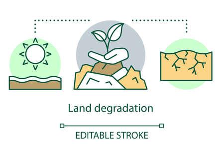 Symbol für das Konzept der Landdegradation. Bodenerosion. Trockene Region. Trockenes heißes Klima. Zone der extremen Landwirtschaft. Dünne Linie Illustration der Idee der Wüstenbildung. Vektor isolierte Umrisszeichnung. Bearbeitbarer Strich