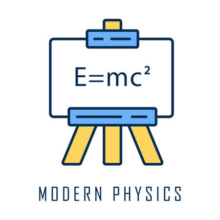 Modern physics color icon. Theory of relativity and quantum mechanics. Branch of physics. Up-to-date physics and learning. Einstein formula on whiteboard. Isolated vector illustration