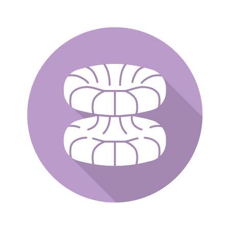 Quantum physics violet flat design long shadow glyph icon. Nuclear energy phenomenon. Futuristic nanotechology. Quantum mechanics theoretical model. Nuclear fusion. Vector silhouette illustration