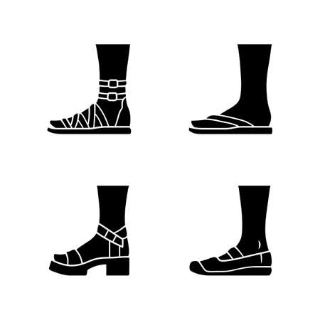 Women summer shoes glyph icons set. Female elegant formal and casual footwear. Stylish gladiator sandals, platform heels. Spring canvas flats. Silhouette symbols. Vector isolated illustration