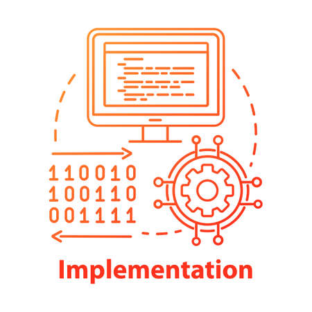 Implementation concept icon. Software coding. Computer programming and deployment idea thin line illustration. Information technology. Vector isolated outline drawing Stock Illustratie